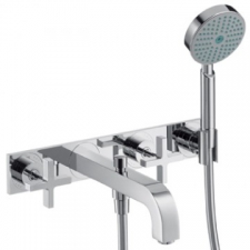 Citterio Wall-Mounted 3-Hole Bath Mixer with Cross Handles & Plate Chrome
