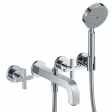 Citterio Wall-Mounted 3-Hole Bath Mixer with Cross Handles & Escutcheons Chrome