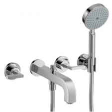 Citterio Wall-Mounted 3-Hole Bath Mixer with Lever Handles & Escutcheons Chrome