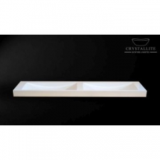 Crystallite - Double Wave 1.6m Countertop/Wall-Mounted Basin 1610x440x110mm Luxury White