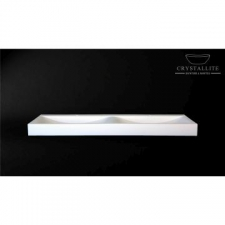 Crystallite - Double Wave 1.6m Countertop/Wall-mounted Basin 1610x440x110mm Polished White