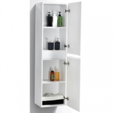 AVA Bathroom Furniture - Milan Large Cabinet Wall-Hung Two Doors 350x300x1500mm White Gloss