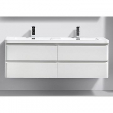 AVA Bathroom Furniture - Milan Vanity Cabinet Wall-Hung Double Drawer 1500x480x500mm White Gloss
