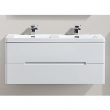 AVA Bathroom Furniture - Venice Vanity Cabinet Wall-Hung Double Drawer 1200x420x500mm White Gloss