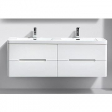 AVA Bathroom Furniture - Venice Vanity Cabinet Wall-Hung Double Drawer 1500x420x500mm White Gloss
