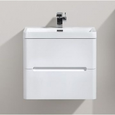 AVA Bathroom Furniture - Venice Vanity Cabinet Wall-Hung Double Drawer 600x420x500mm White Gloss