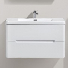 AVA Bathroom Furniture - Venice Vanity Cabinet Wall-Hung Double Drawer 900x420x500mm White Gloss