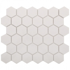 Douglas Jones - Hexagon Porcelain Mosaic Sheet (51x59) 281x325mm White Gloss