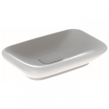 Myday Countertop Washbasin: B=60cm T=40cm Overflow=Without, Keratect/White - Geberit