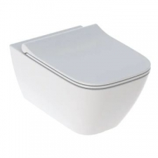 Smyle Square Set Wall-Hung WC Washdown Shrouded Rimfree With WC Seat Sandwich Shape: White - Geberit