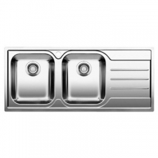 Blanco Median 8 S Drop-In Double End Bowl Sink Right Hand Drainer 1160x500x190mm Polished Stainless Steel