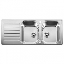 Blanco Lantos 8 S-IF Sink Double Drop-In w/Waste 500x1160mm Brushed Stainless Steel