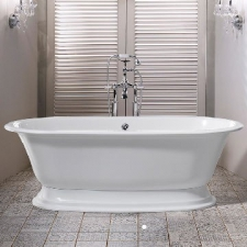 Elwick Freestanding Dbl-Ended Bath w/Plinth & Overflow 1902x910x622mm White - Victoria & Albert