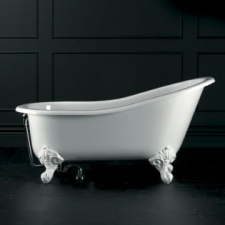 Shropshire Freestanding Bath w/Overflow & Shropshire Feet Quarrycast 1537x750mm White - Victoria & Albert