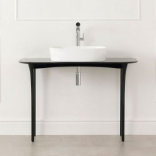 Stiletto Vanity Table excluding Tap Hole 1100x497x798mm Piano Black - Victoria & Albert